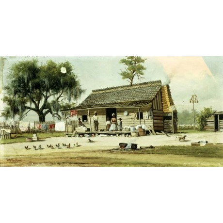 WILLIAM AIKEN WALKER Life in the South rural FAMILY on VERANDA chickens CANVAS