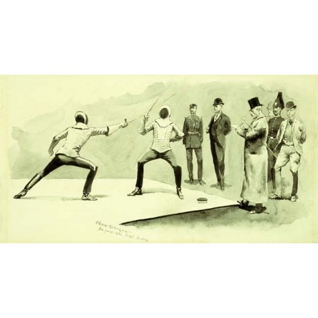"SPORTING theme NEW ON CANVAS ""Fencing at Dickel's Academy"" FREDERIC REMINGTON"