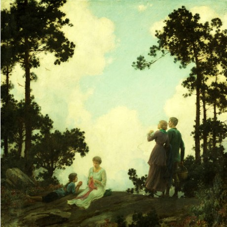 CHARLES COURTNEY CURRAN Under the Pines couple ADMIRING mother child sky NEW!!