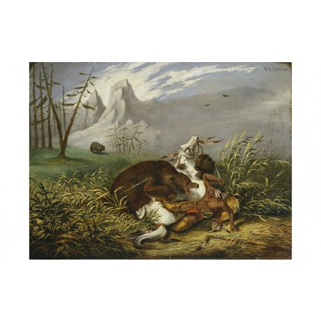 HENRY CROSS Sioux Indian Under Attack new CANVAS print! various SIZES, BRAND NEW