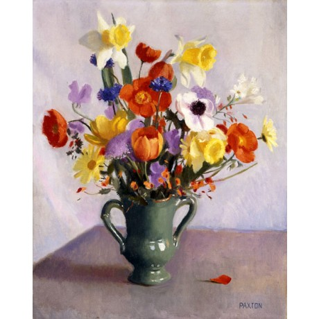 WILLIAM MCGREGOR PAXTON Spring Bouquet COLOURFUL cheerful flowers ON CANVAS!!!
