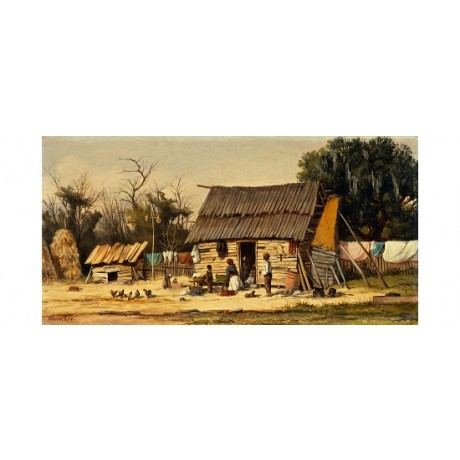 "WALKER ""Daily Chores"" AFRICAN shack haystack washing wood yard children CANVAS"