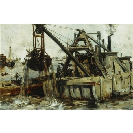 "John Henry Twachtman ""Dredging in the East River"" new york crane scrap metal"
