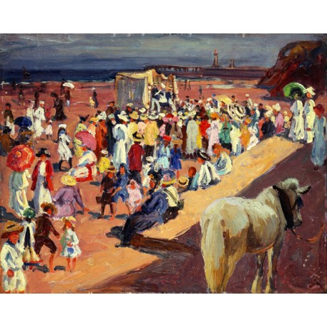 WILLIAM SAMUEL HORTON Broadstairs Beach SUNNY barefoot crowd horse pier PRINT!