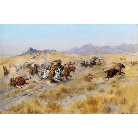 "CHARLES MARION RUSSELL ""The Attack"" cowboys indians various SIZES available, NEW"