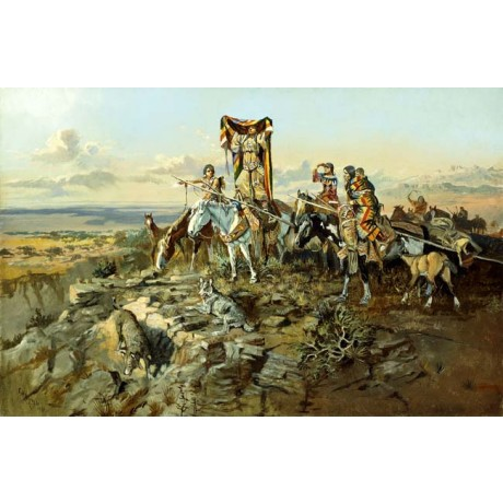 CHARLES MARION RUSSELL In the Wake of the Hunters WOLF american tribe rock NEW
