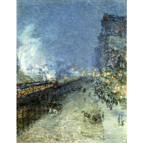 FREDERICK CHILDE HASSAM The El, New York street scene PROGRESS night ON CANVAS