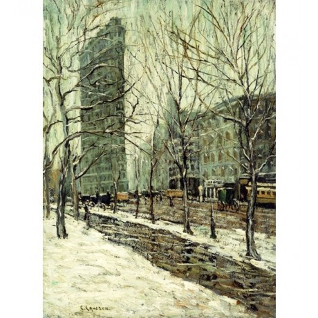 ERNEST LAWSON The Flatiron Building city LANDMARK snow winter CANVAS EDITION!!