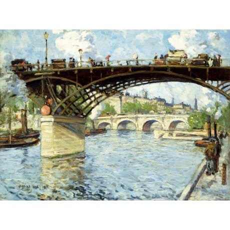 JONAS LIE View of the Seine parisien ARCHED bridge river traffic SEE our SHOP!