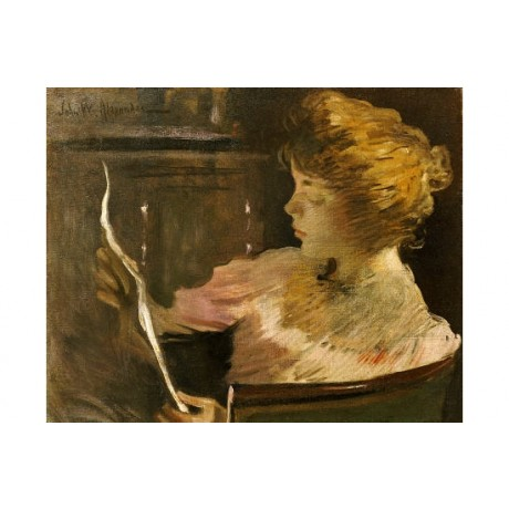 "JOHN WHITE ALEXANDER ""Jesse Steele Reading"" ON CANVAS various SIZES, BRAND NEW"
