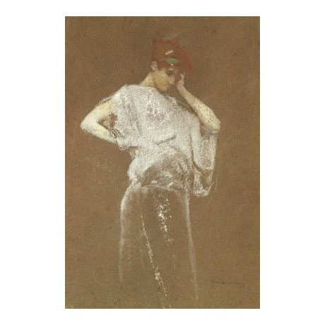 "THOMAS WILMER DEWING ""Figure in Gray"" REDHEAD grey bystander dress CANVAS PRINT"