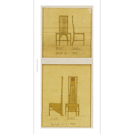 "CHARLES RENNIE MACKINTOSH ""Design For Chairs"" print various SIZES available, NEW"