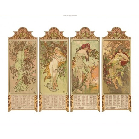 "ALPHONSE MARIE MUCHA ""Les Saisons"" woman floral CANVAS various SIZES, BRAND NEW"