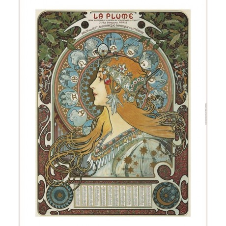 "ALPHONSE MARIE MUCHA ""Zodiac"" woman floral CANVAS! choose your SIZE, from 55cm"
