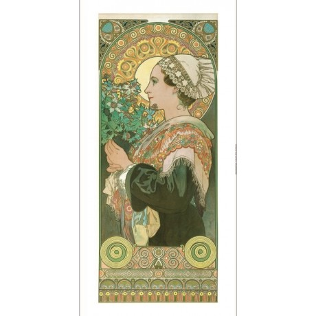 "ALPHONSE MARIE MUCHA ""Chardon de Greves"" woman boucquet various SIZES, BRAND NEW"