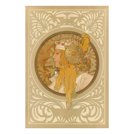 "ALPHONSE MARIE MUCHA ""Byzantine Head Blonde"" woman choose your SIZE, from 55cm"