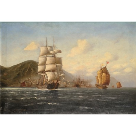 "GERMAN SCHOOL ""Hong Kong Harbour Junks and European Shipping"" NEW CANVAS PRINT"