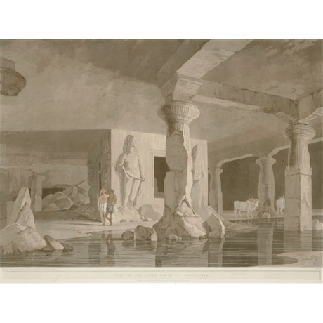 "NEW DECORATIVE canvas print AFTER DANIELS' engraving of ""Elephanta Cave"" hindu"