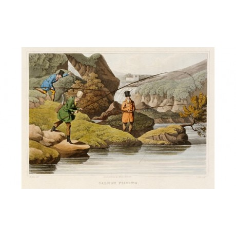 "SAMUEL HENRY ALKEN ""Salmon Fishing"" print ON CANVAS various SIZES available, NEW"