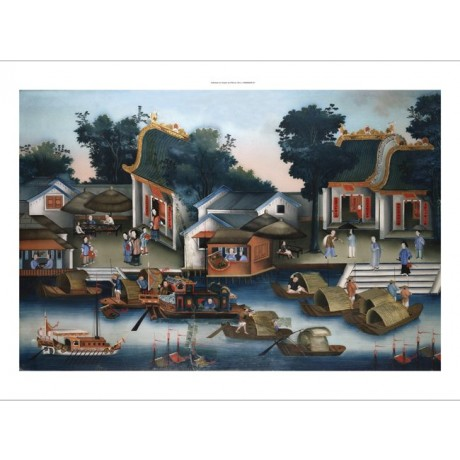 "CAPTIVATING canvas print ""Sampans Boats"" blue pier river daytime CHINESE SCHOOL"