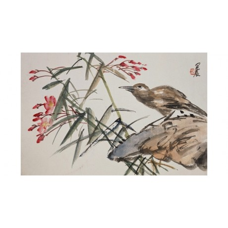 CANVAS PRINT Leaf wild flower bird BEAUTIFULLY drawn ornithology red WENG ZHEN