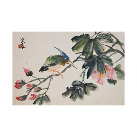 "Amusing CANVAS PRINT ""Leaf"" ANGRY bird among the blossom grumpy WENG ZHEN giclee"