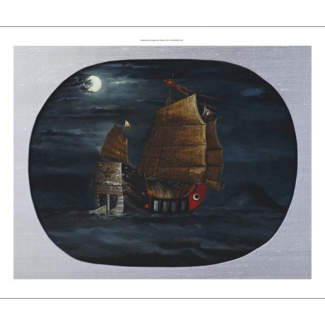 CHINESE Junk In Stiff Breeze Of Rocky Island MOONLIGHT waves blue CANVAS PRINT