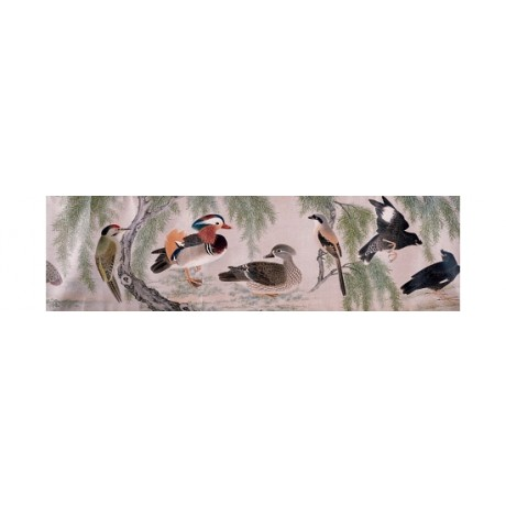"APPEALLING CANVAS PRINT of ""Birds"" WOODPECKER duck mandarin YU SHENG BRAND NEW"