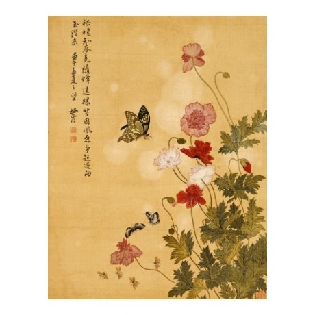 "MA YUANYU ""Corn Poppy And Butterflies"" chinese print various SIZES available"