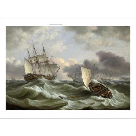 "THOMAS LUNY ""Two Royal Naval Third Rates in Torbay"" MERCHANT storm waves CANVAS"