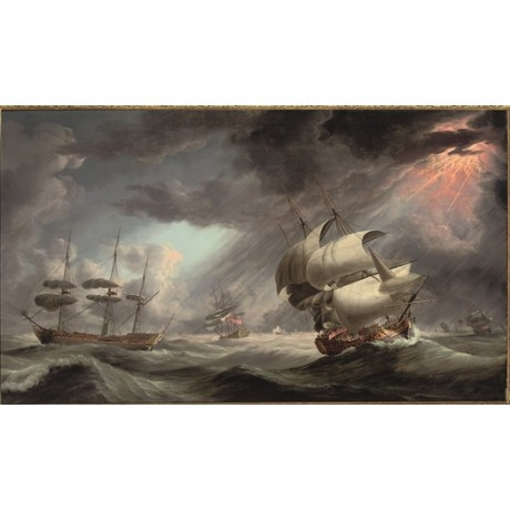 ROBERT DODD Royal Naval Warship Caught in a Gale SQUADRON lightning NEW CANVAS