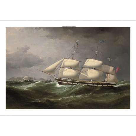 "SAMUEL WALTERS ""The Frankfield off Table Bay, Cape Town"" ROUGH seas mast CANVAS"