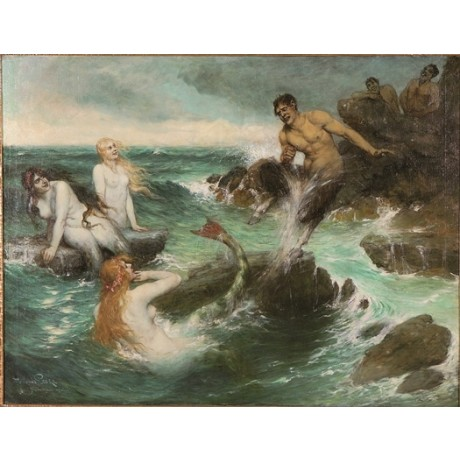 FERDINAND LEEKE The Mermaids tail TEMPTATION flirting rocks waves CANVAS PRINT