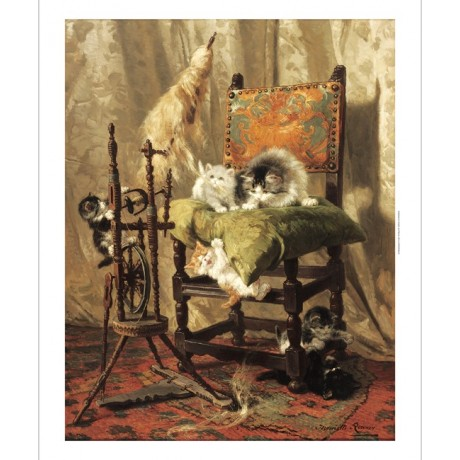 "HENRIETTE RONNER ""Playful Kittens by a Spinning Wheel"" various SIZES, BRAND NEW"