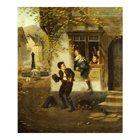 "FRITZ BEINKE ""Naughty Schoolboys"" CANVAS ART ! choose SIZE, from 55cm up, NEW"