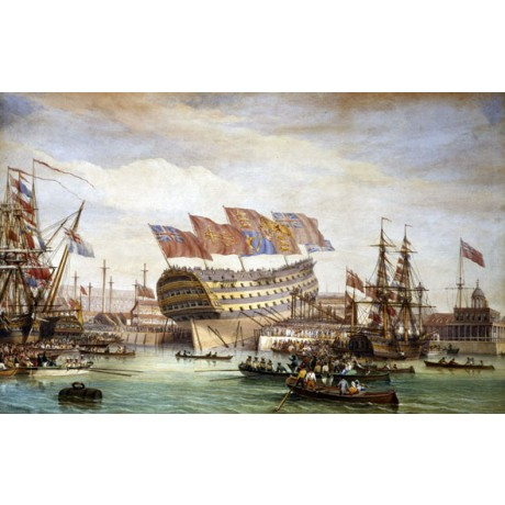 "JOHN M. WHICHELO ""Launching of HMS Trafalgar Chatham 26 July 1820"" CANVAS PRINT"