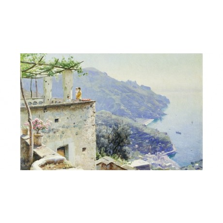 PEDER MONSTED The Ravello Coastline scenic VIEW sea pergola rooftop sky CANVAS