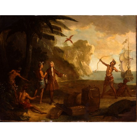 "OUDRY ""European Merchant Negotiating with Native Americans"" colonial NEW PRINT!"