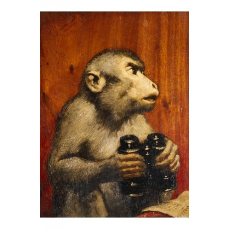 "GABRIEL VON MAX ""Critic"" Monkey CANVAS EDITION choose SIZE, from 55cm up, NEW"