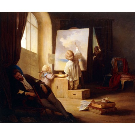 "JOSEF DANHAUSER ""The Sleeping Painter"" TODDLER upto MISCHIEF woman CANVAS PRINT"