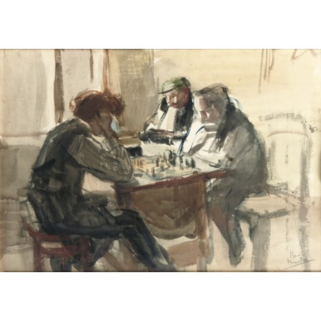 "ISAAC ISRAELS ""The Chess Players"" CANVAS see our SHOP! various SIZES, BRAND NEW"