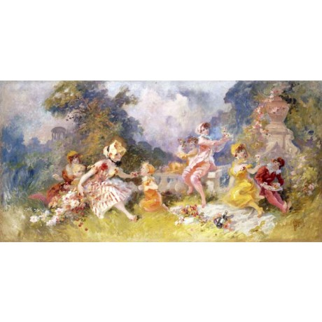 "JULES CHERET ""Dejeuner sur l'Herbe"" SUNNY family picnic mother child NEW CANVAS"