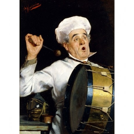 POMPEO MASSANI Calling for Dinner BANGING drum chef hat noise NEW CANVAS PRINT
