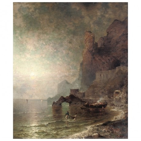 "FRANZ UNTERBERGER ""The Gulf of Salerno, Amalfi"" CANVAS various SIZES, BRAND NEW"