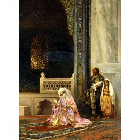 STANISLAUS VON CHLEBOWSKI A Turkish Lady Praying in Green Mosque, Bursa NEW!