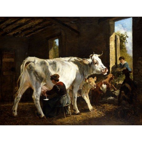 "GIUSEPPE PALIZZI ""La Mungitura"" MILKING cow calf farm goat woman CANVAS PRINT"