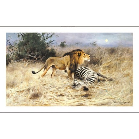 "WILHELM KUHNERT ""A Lion With His Prey"" CANVAS ART ! various SIZES available, NEW"