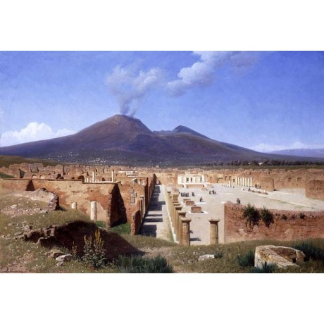 "LOUIS SPANGENBERG ""Vesuvius from Pompei"" DISASTER smoking volcano CANVAS PRINT"
