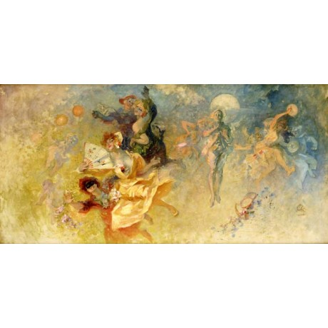 "JULES CHERET ""The Masked Ball"" CELEBRATION magical moon fan yellow CANVAS PRINT"