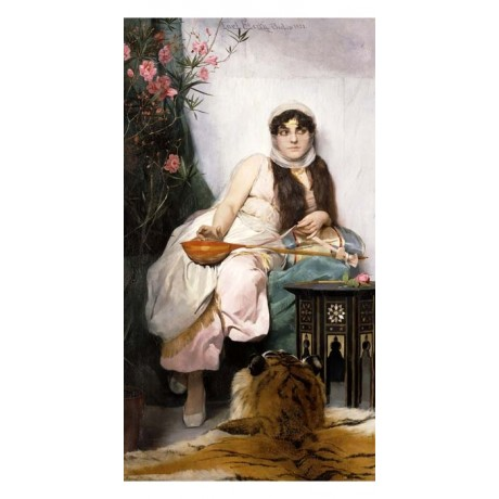 CARL STERRY An Oriental Musician VEIL woman tiger skin instrument CANVAS PRINT